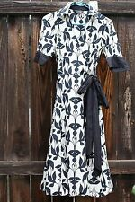 vintage zara cotton silk dress graphic knee length fake wrap light summer S
