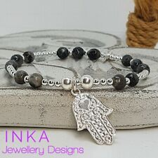 Inka 925 Sterling Silver & Labradorite bead Stacking Bracelet and Hamsa charm