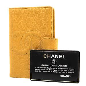 CHANEL Logos Mini Agenda Day Planner Cover Caviar Skin Leather Auth #AD996 O