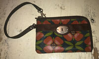 FOSSIL Long Live Vintage Key-Per Coated Canvas Wristlet Wallet