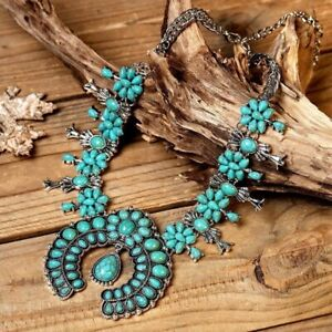NWT - Natural Squash Blossom Turquoise Southwestern Native Style Necklace (P601)