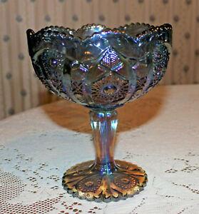 Vintage Imperial Carnival Glass Amethyst Hobstar Pedestal Compote Bowl MINT