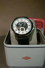 fossil mens gents wrist watch stainless steel automatic white dial me3053