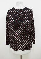 HOBBS Ladies Navy Blue Cayenne Red Cubic 3/4 Sleeved Julia Top Size XS NEW