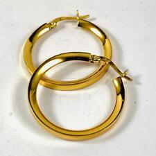 Vintage Sterling Silver .925 Gold Plated Hoop Lever Back Earrings Estate Jewelry