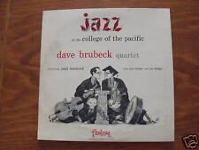 "DAVE BRUBEK  @ COLLEGE OF PACIFIC '54 FANTASY 10"" LP"