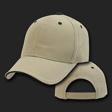 Khaki & Black Sandwich Visor Bill Plain Blank Baseball Ball Cap Hat Caps Hats