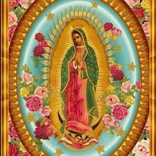 PNL119 Our Lady of Guadalupe 4 Image Mexico Virgin Mary Cotton Fabric Panel