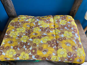 "Yellow Nylon Vintage Double  Bedspread Eiderdown  Floral Flower Power 78"" X 72"""