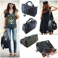 Korean Style Women's Satchel PU Leather Tote Purse Shoulder Bag Messenger Black
