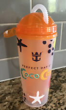 Royal Caribbean Perfect Day Coco Cay Orange Souvenir Drink Cup w/Straw-Used Once