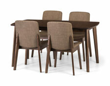 Solid Beech Walnut Coloured Extending Dining Table & 4 Chairs KESTRAL
