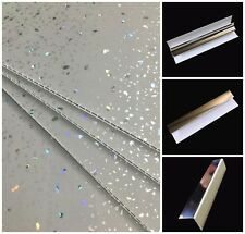 Grey Sparkle Wall Panels & Bathroom Trims Shower Wet Wall Cladding PVC Ceiling