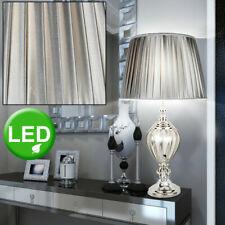 LED Tisch Lampe Wohn Zimmer Beleuchtung Chrom Lese Strahler Seiden Stoff Leuchte