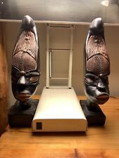 2 Wooden African Busts Tribal Statues Bookends Dark Wood Sculptures Decor 13�