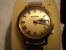 Bulova M9 14K Gold Filled Day/Date Vintage Accutron Mens Watch