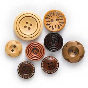 30pcs Brown Solid Wood buttons for Sewing Scrapbooking Clothing Crafts Decor