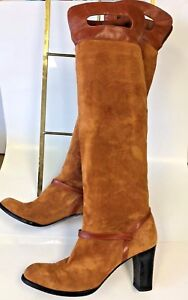 Ann Klein Authentic Women's Tall Knee High Suede/Leather Heel Boots U.S. Size 7