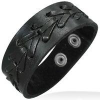 Black Leather Alloy Arrow Snap Wristband Unisex Bracelet