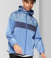 Men's Casual Fit Anorak Jacket Coat Rain Windbreaker - Blue Paisley XS M XL XXL