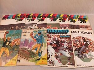 CFL Illustrated Magazine Lot of 11 1968-70 Lions Argonauts Roughriders Tigercats