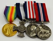Superb Set of 4 Full Size Replica World War 1,2 Service Medals with Ribbons