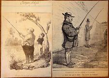 Le CHARIVARI Caricatures Humour XIXe Les Pêcheurs à la ligne 2 Lithographies