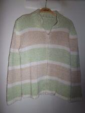 Strick-Jacke, Größe 40,/42, Reißverschluss Baumwolle gestreift grün-beige-weiß