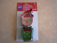 New ! Wilton Christmas 2 Piece Metal Cookie Cutter Set Santa's Head & Gift Box
