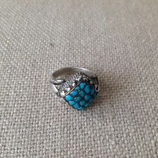 Antique Tibetan Silver & Turquise Ring Square Top with intricate silver detail