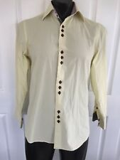 COOGI LUXE S Yellow Button Down Shirt Checks Long Sleeve Flip Cuff GC