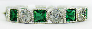 EMERALDS 2.12 Cts & WHITE SAPPHIRE ETRNITY RING .925 Silver  NWT SIZE 7