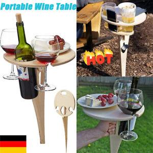 Weintisch im Freien Tragbarer Klappbarer Strand-Picknicktisch mit Flaschenhalter