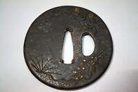 Tsuba Eisen Antik Edo aus Kyoto Japan 1013A17G