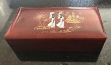 Vintage Lacquer Jewelry Box Mother Of Pearl Inlay Pagoda Women Straw Coolie Hat