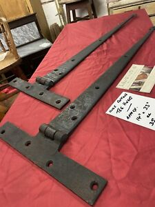 """SUPERB - MASSIVE ANTIQUE HEAVY IRON Pair Of TEE HINGES (14"""" X 35"""") (Hand Forged)"""