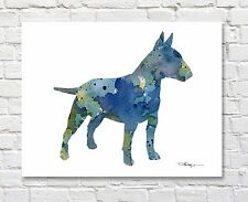 Bull Terrier Contemporary Watercolor 11 x 14 Art Print by Artist Djr