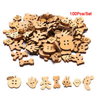 100Pcs/Set Natural Wood Mix Cotton Animal 2 Holes Buttons DIY Craft Decorat Gw