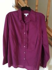 NEW Charter Club Womans Raspberry Long Sleeve Blouse Ruffles Size 20W