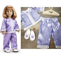American Girl Doll Clothes NELLIE'S PAJAMAS Pom Pom SLIPPERS HANGER Purple PJS
