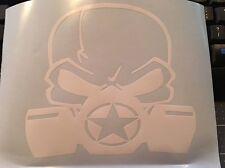 Army Military Star Jeep Vinyl Decal Biohazard Skull Mask WHITE