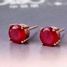Lovely 18ct rose gold filled natural ruby stud earrings