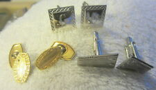 Vintage,lot of 3 cuff links sets,Krementz gold color,c monogram silver,cufflinks