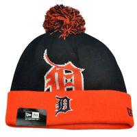 MLB New Era Detroit Tigers Woven Biggie 2 Cuffed Beanie Winter Pom Warm Knit Hat
