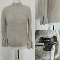 PRIMARK Women's Jumper Beige Knit High Neck Fitted Bell Sleeve Blogger S 6/8