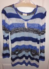 Brand New Bobbie Brooks Blue Black & White Women's V-Neck Sweater size XL NWT