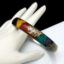 Vintage Lucite Bangle Bracelet Mid Century Patchwork Design Colorful Vinyl