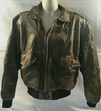 Outback Red Mens Distressed Bomber Jacket Brown Genuine Leather Size XL