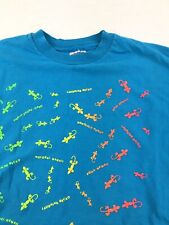 Vintage Men's Blue Hawaii Gecko Large Single Stitch T Shirt Made in Usa