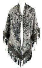 LORO PIANA Taupe Floral Cashmere Mink Fur & Leather Fringe Shawl Wrap
